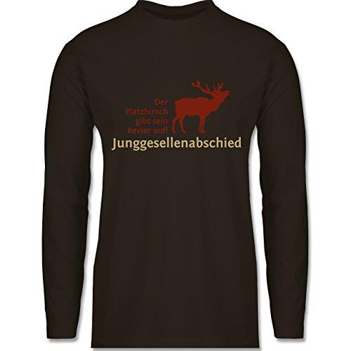 JGA Junggesellenabschied - Platzhirsch - Longsleeve / langärmeliges T-Shirt für Herren Braun