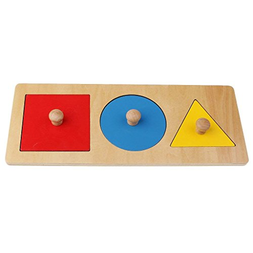 SODIAL 1 Kit Wooden Montessori-geometry Toy Educational Game Early Learning Toy for Baby Boy (Round + Triangle- + Square) 3 Colors