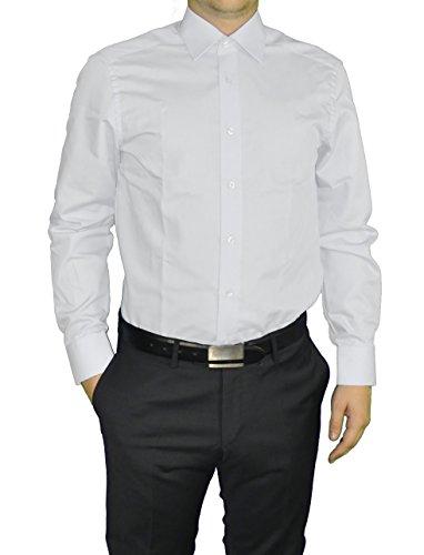Redmond - Modern Fit - Herren Langarm Hemd in verschiedenen Farben, Unifarben, Bügelleicht (150110) Weiß(0)