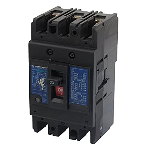 DealMux 50A 220V AC 600 V Ui 3 Pole MCCB Moulded Case Circuit Breaker NF50-SP