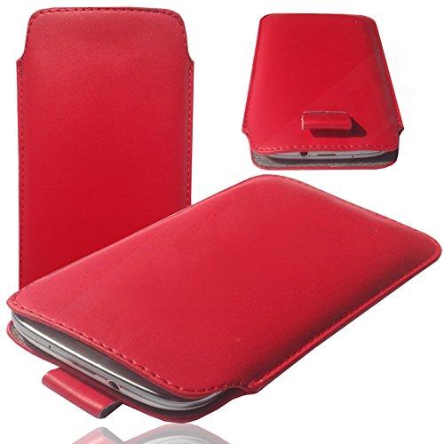 HQ ROT Slim Cover Case Schutz Hülle Pull UP Etui Smartphone Tasche für Archos Access 45 4G