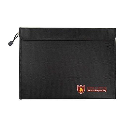 LCLrute Schwarze flache doppelseitige feuerfeste und wasserdichte Datei-Geldtasche horizontale Version 38 * 28cm (A)