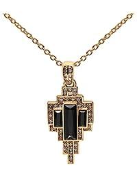 Cristalina Gatsby Art Deco Fan Drop Swarovski Crystal Pendant and Chain of Length 46-51cm