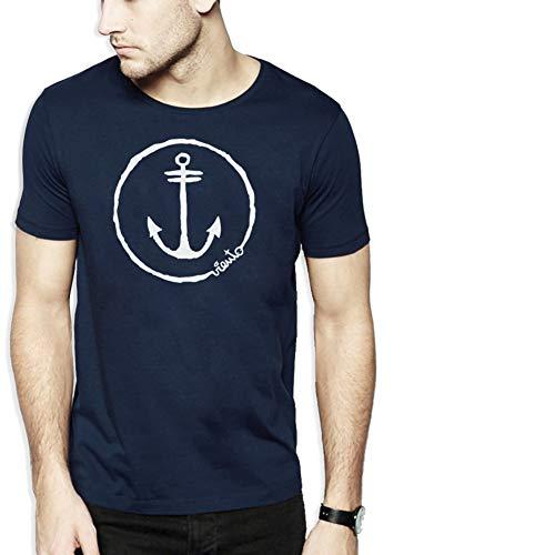 VIENTO Anchor Logo Herren T-Shirt (Blau, L)