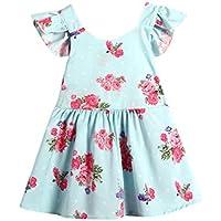 Niñas vestido, squarex Infant Toddler Kid niñas Floral princesa vestido sin mangas sin espalda vestido