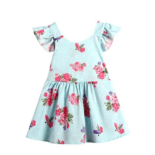 rex Infant Kleinkind Kid Mädchen Blumenmuster Ärmellos Kleid Prinzessin Rückenfrei Kleidung Kleidung, Kinder, blau, 12-18 Monate  (Halloween-kostüme Für 19 Monate Alten Jungen)
