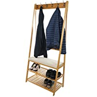 Kidzmotion Bramley Power Bamboo Wood Coat Shoe Hat Rack Stand with Coat Hooks, 2-Tier Shoe Storage and Seating