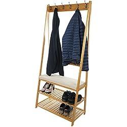 Perchero de madera de bambú con ganchos para abrigos y sombreros, zapatero de 2 niveles y asiento, de Bramley Power