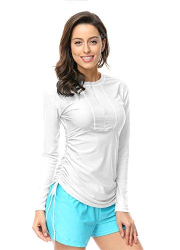 Damen UV Schutz Shirt Rash Guard Long Sleeve Schwimmshirt Weiß XL
