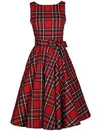 LILICAT Vintage Neckholder Rockabilly 50er 60er Retro Kleid Petticoat  Faltenrock Rockabilly Swing Kleid Ärmellos Kariert Plaid fbd2ad9871