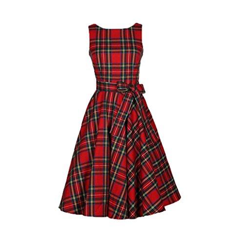 A-linie Boot-rock (Kleid damen Kolylong® Frauen Vintage Karierte Kleid mit Gürtel Elegant Ärmelloses Rockabilly Kleid Rückenfrei Kleid Bodycon Party Kleid A-Linie Kleider Abendkleid (Rot, XXL))