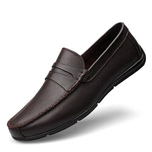 Minitoo Mens Striped Slip-On Moccasins Spring Casual Loafers Brown
