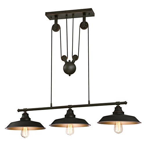Westinghouse Three-Light Indoor Island Pulley Pendant Poleas, Bronce Aceitado Lámpara de techo colgante con 3 luces