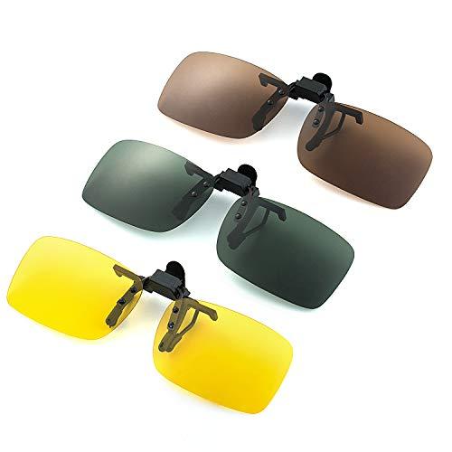 Joeyer 3 Pack UV400 Sonnenbrille Clip, Sonnenbrille Aufsatz Polarisationsbrille Clip mit Brillen-Etui [Nachtsicht Gelb + Dunkelbraun + Dunkelgrün]
