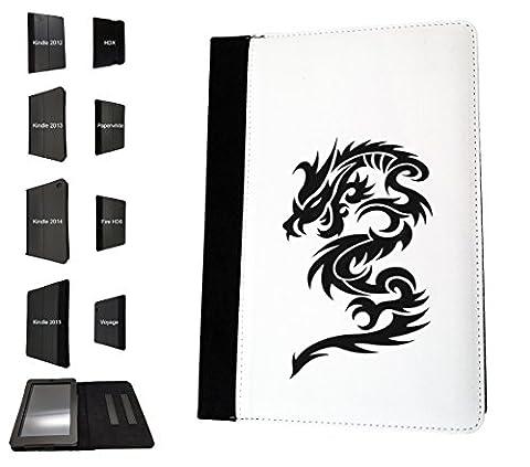 003425 - Tribal Dragon tattoo Design Amazon Kindle Fire HD 7'' 3th Generation 2013 Models Book Style Coque Purse Wallet Pouch portefeuille Poche Flip Coque Flip Case Coque