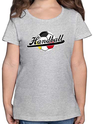 Handball WM 2019 Kinder - Handball Deutschland - 164 (14/15 Jahre) - Grau meliert - F131K - Mädchen Kinder T-Shirt