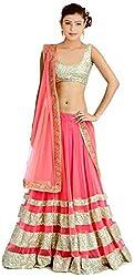 Jay Varudi Creation Women's Pink Net Semi-Stiched Partywear Free Size Lehenga Choli
