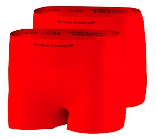 2er Pack Hochwertige Herren Seamless Boxershorts-Pant (L/XL, rot / rot)