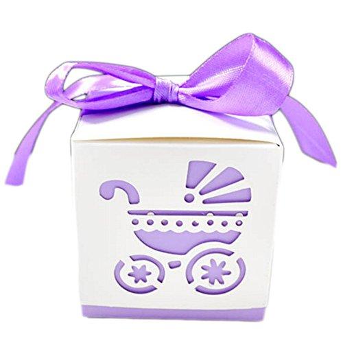 50X Toruiwa Geschenkbox Papier Pralinenschachtel Hochzeit Süßigkeiten Boxen mit Bowknot für Hochzeit Geburtstag Baby Dusche Weihnachten Taufe Kinder Party Babyparty (Lila) (Halloween-süßigkeiten Babys Für)