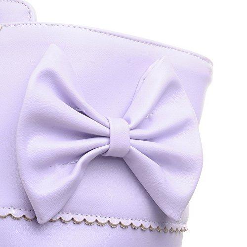 AgooLar Femme à Talon Haut Pu Cuir Rond Zip Bottes avec Nœuds à Deux Boucles Violet