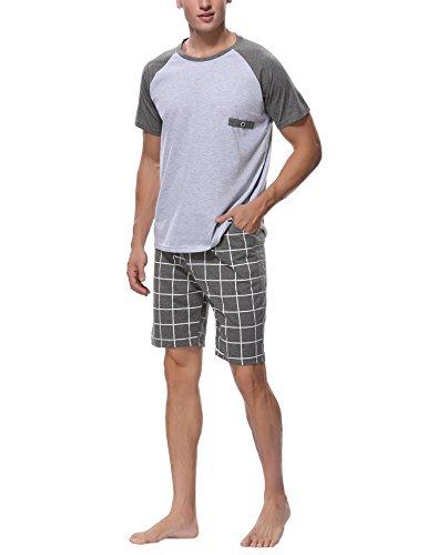 Aibrou Herren Baumwolle Kurzarm Pyjamas Set, Zweiteiliger Schlafanzug Short + ShirtLeicht Blau Grau XL (Pyjama 2 Blau Set Baumwolle)