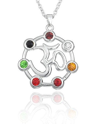 Chakra OM Pendentif étoile d'argent pur 925 avec Pierres Semi-précieuses