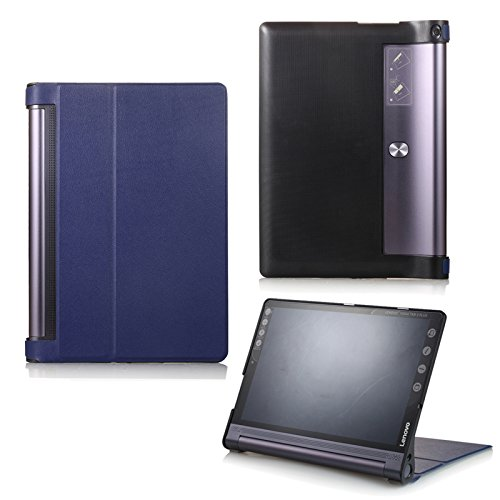 Schutz Hülle für Lenovo Yoga Tab 3 10 Plus YT-X703F/L und Lenovo Tab 3 10 Pro YT3-X90F aufstellbares Smart Cover Case mit Wake & Sleep Funktion (Blau) + GRATIS Stylus Touch Pen