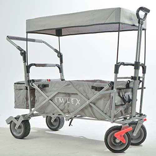 IMLEX Bollerwagen mit Schiebe und Zieh Funktion IMLEX-3004 Grau faltbar Handwagen Strandwagen mit Dach und Feststellbremse