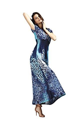 JOTHIN 2017 été La Nouvelle Robe de Plage le Léopard Eponger le Plancher Bohème Robe Imprimée de Taille Grands Robe de Soie de Glace Bleu-N
