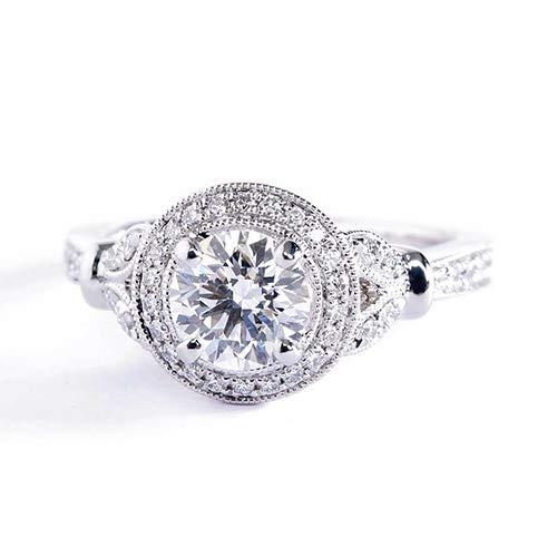 Verlobungsring 18 Karat Weißgold 1,10 Karat SI2 F Diamant Brillantschliff Vintage GIA zertifiziert