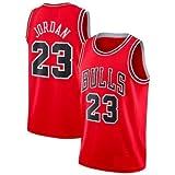 A-lee Trade Men's Jersey Bulls Vintage NBA Champion Michael Jordan Jersey Chicago Bulls #23 Mesh Basketbal (L, Rot)