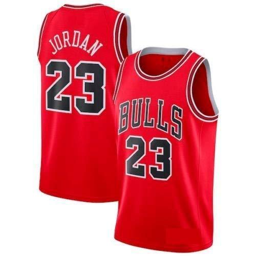 rsey Bulls Vintage NBA Champion Michael Jordan Jersey Chicago Bulls #23 Mesh Basketbal (L, Rot) ()