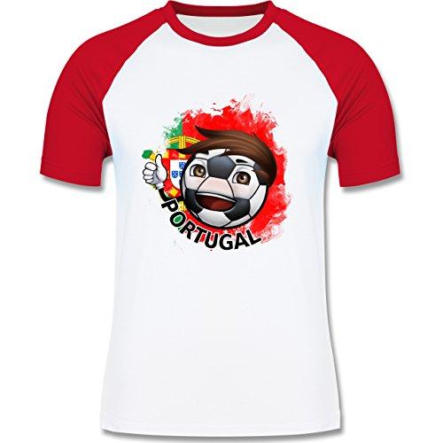 EM 2016 - Frankreich - Fußballjunge Portugal - zweifarbiges Baseballshirt für Männer Weiß/Rot