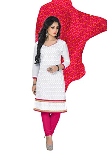 SALWAR HOUSE White & Pink unstitched Cotton Embroidered Dress Material for women with Patiala Salwar Suit Dupatta-SHRGPEHNAWA-9333