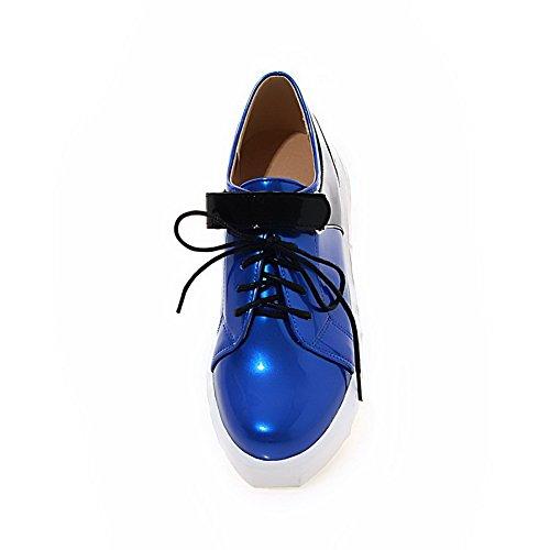 VogueZone009 Damen Pu Leder Gemischte Farbe Schnüren Rund Zehe Mittler Absatz Pumps Schuhe Blau