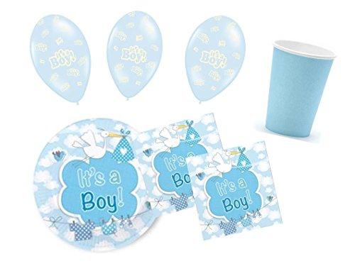 Partydekoset Babyparty Baby Shower Junge blau für 16 Personen 58 teilig Pullerparty Baby Geburt Babyparty Komplettset Tischdeko Party Geschirr