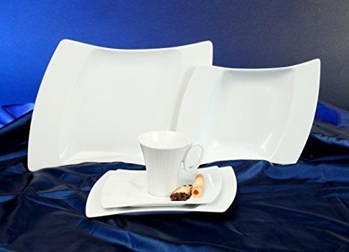 Wing Flügel Weiss Tafel Ess Service 12 teilig Neu Eckig Porzellan Set 6 Personen