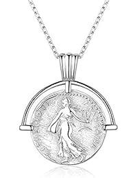 2c4b43d55a10 ChicSilver Moneda Memorial Plata de Ley 925 Chapado en Platino y Oro 18K  Collar para Hombres y Mujeres con Cadena Extensible Colgantes…