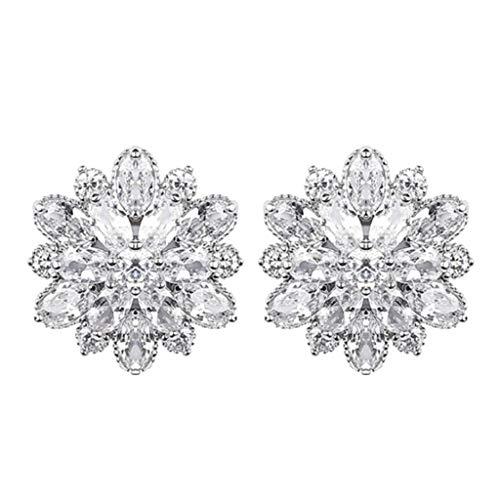 Mypace 925 Silber Gold Set Creolen hängende Ohrringe Für Damen Persönlichkeit Einfache Volle Diamantblume Ohrringe Damen Schmuck