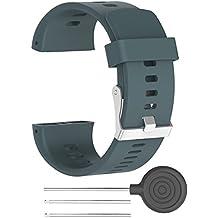 Correa de reloj de recambio–suave silicona hebilla de metal correa de hebilla de reloj muñeca reloj banda pulsera para polar V800GPS reloj deportivo con herramientas, color Cyan Blue