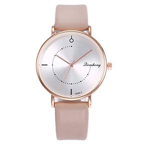 YUnnuopromi Armbanduhr, ohne Zahlen, Kunstleder, Analog, Quarz, Geschenk für Liebhaber