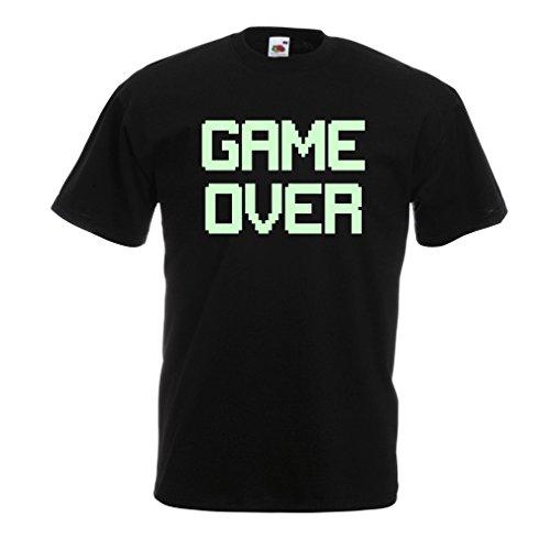 Männer T-Shirt Spiel über lustige Gamergeschenke (XXXXX-Large Schwarz Fluoreszierend)