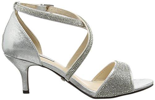 Quiz - Shimmer Diamante Low Heel, Scarpe spuntate Donna Silver (Silver)
