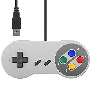2 Pack SNES Game Controller, Retro USB Super Nintendo Gamepad Joystick Joypad Gamestick for Windows PC MAC Linux Android Raspberry Pi 3 Steam Sega Genesis Higan