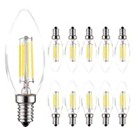 MODI E14 Candle Bulb, 40 Watt Equivalent LED Filament Light Bulbs, Non-Dimmable Soft Warm White 2700K Classic Clear Glass, 800LM Flame LED Filament Candle Bulb, 4W Pack 10