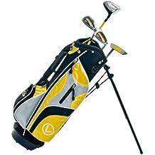 Longridge - Set 4 mazze da golf Junior, per bambini dai 4 anni in su, per destrimani, colore: Nero/Giallo - Borse Grafite Stand