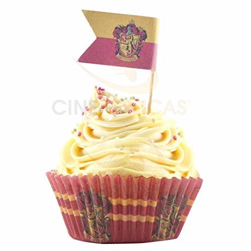 96 Stück Harry Potter Cupcake Backförmchen + 96 Harry Potter Flaggen –, Papier – Cinereplicas …