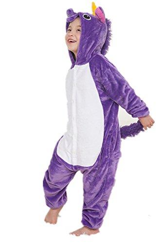 Kenmont Einhorn Kinder Unisex Pyjamas Karneval Halloween Tier Schlafanzug mit Kapuze Nachtwäsche Tierkostüme Cosplay Kostüm (Purple, Größe 105 (Höhe 120-130cm))