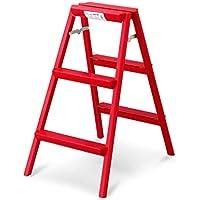 SHLDTZ Escalera Plegable De Aleación De Aluminio. Escalera Escalonada. Escalera De Tres Escalones. portátil (Color : Red)