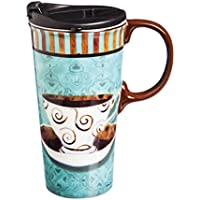 Cypress Home Ceramic Deja Brew Travel Coffee Mug, 17 ounces by Cypress Home